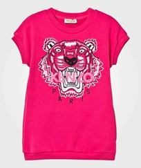Kenzo Hot Pink Tiger Embroidered Sweat Dress 35