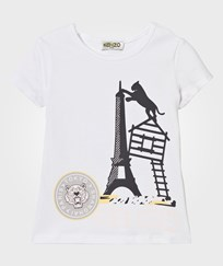 Kenzo White Eiffel Tower and Tiger Print Tee 01
