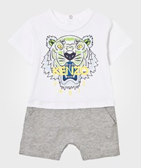 Kenzo White and Grey Tiger Print Jersey Romper 01