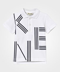 Kenzo White and Navy Kenzo Branded Polo 01