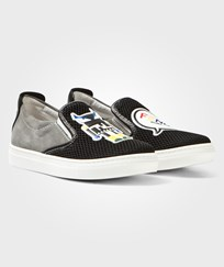Fendi Black Mesh Monster Slip Ons F0D9B