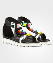 Fendi Black Multi Stud Ankle Strap Sandals F0QA1