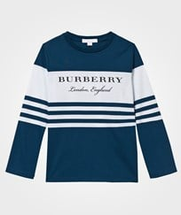 Burberry Long-sleeved Striped Cotton T-shirt Mineral Blue Mineral Blue