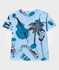 Dolce & Gabbana Blue Musical Instrument Print Tee with Palm Tree Applique HC677