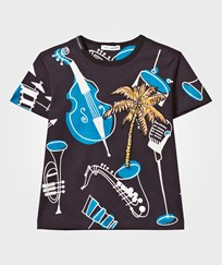 Dolce & Gabbana Navy Instrument Print and Palm Tree Applique Tee HN677