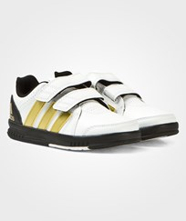 adidas White and Gold FB Velcro Trainers White