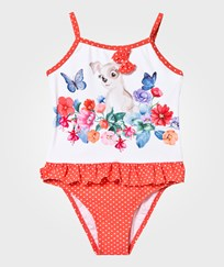 Mayoral Orange Dog and Flower Print Spot Frill Swimsuit 67