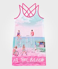 Mayoral Pink Girl and Beach Print Jersey Dress 59