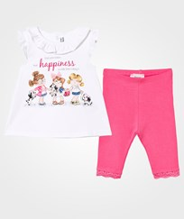 Mayoral White 3 Girls Print Tee and Leggings Set 67