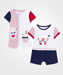 Mayoral Pack of 2 Red and Navy Bear Applique Rompers 71