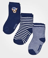 Mayoral 3 Pack of Navy Dog and Stripe Socks 32