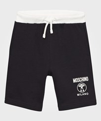 Moschino Kid-Teen Black and White Branded Sweat Shorts 60100