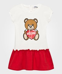 Moschino Kid-Teen White and Red Bear Print Frill Dress 10063