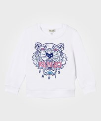 Kenzo White Sequin and Embroiderd Tiger Sweatshirt 01