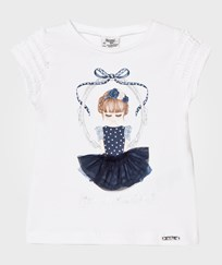 Mayoral Navy Girl in Mirror with Applique Skirt Tee 89