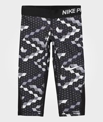 NIKE Black Printed Capri Leggings BLACK/BLACK/PURE PLATINUM/PURE PLATINUM