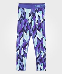 NIKE Blue Printed Hypercool Leggings VIVID SKY/COMET BLUE/WHITE