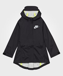 NIKE Black Hooded Rain Jacket BLACK/BLACK/VOLT