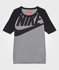 NIKE Grey and Black Branded 3/4 Sleeve Tee CARBON HEATHER/BLACK/SAIL/BLACK