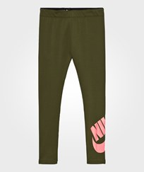 NIKE Khaki Logo Leggings LEGION GREEN/LAVA GLOW