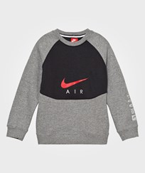NIKE Grey Air Crew Jumper CARBON HEATHER/BLACK/UNIVERSITY RED