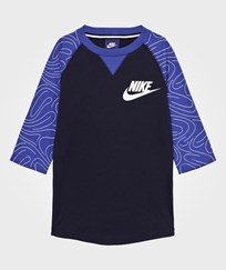 NIKE Navy 3 Quarter Sleeve Top OBSIDIAN/GAME ROYAL/WHITE