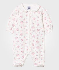 Petit Bateau White and Pink Floral Vevlour Babygrow 70