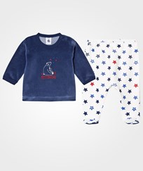 Petit Bateau Navy and Star Pattern Velour Set 11