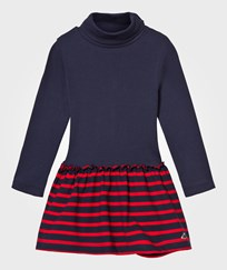 Petit Bateau Navy and Red Stripe Polo Neck Dress 99