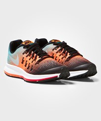 NIKE Multi Zoom Pegasus 33 Junior Trainers BLACK/METALLIC SILVER-HYPER ORANGE