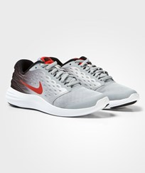 NIKE Grey and Orange Lunarstelos Junior Trainers WOLF GREY/MAX ORANGE-BLACK-WHITE