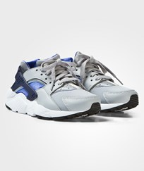 NIKE Grey and Blue Huarache Run Junior Trainers WOLF GREY/BINARY BLUE-COMET BLUE-WHITE