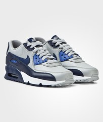 NIKE Grey and Blue Air Max 90 Leather Junior Trainers WOLF GREY/BINARY BLUE-COMET BLUE-WHITE