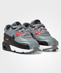 NIKE Grey and Orange Air Max 90 Leather Infants Trainers COOL GREY/BLACK-MAX ORANGE-WHITE