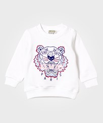Kenzo White Embroidered Tiger Print Sweatshirt 01