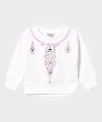 Kenzo White Embroidered and Jewelled Necklace Sweatshirt 01