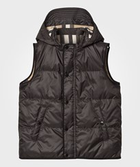 Burberry Down-Filled Hooded Vest Charcoal Charcoal