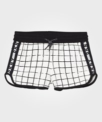 DKNY Black and White Check Branded Sweat Shorts N70