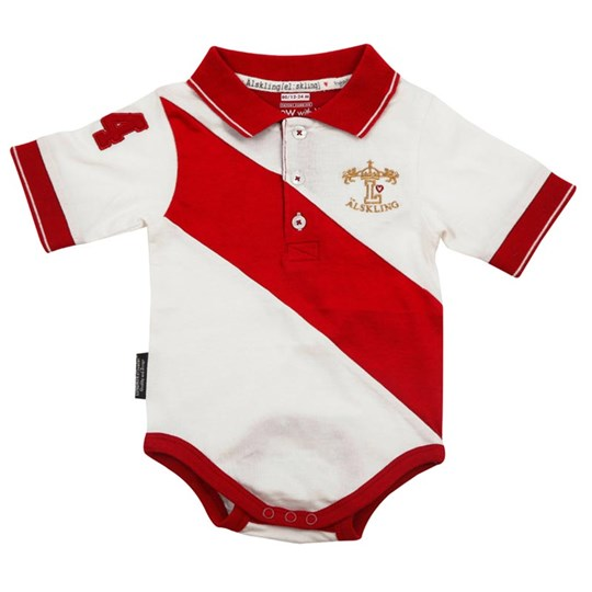 Lundmyr Of Sweden S/S Onesie Polo Diagonal Red Rød