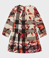 Burberry Pink Floral and Classic Check Print Dress with 3/4 length sleeve PINK AZEALEA