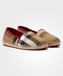 Burberry Red and Classic Check Espadrilles Berry Pink