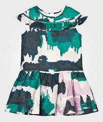 Burberry Green and Pink Cotton Dress with Frill Neckline Detail TEAL GREEN