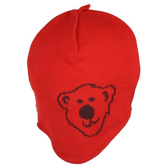 Isbjörn Of Sweden Knitted Cap Logo Red Punainen