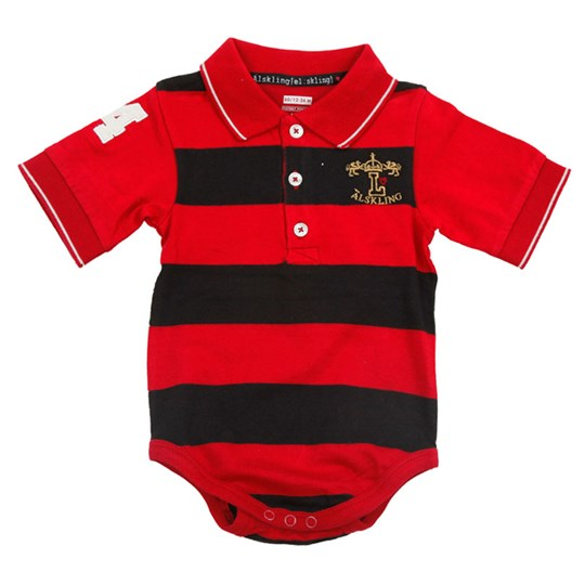 Lundmyr Of Sweden S/S Onesie Black/Red Stripe Black