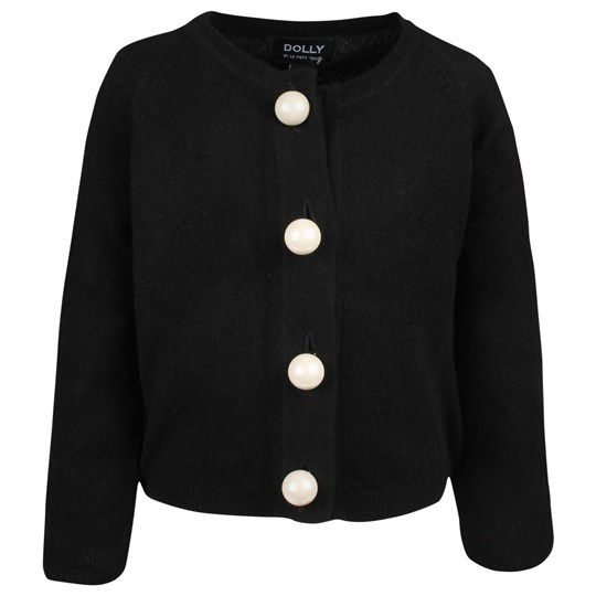 DOLLY by Le Petit Tom Pearled Up Cardigan Black Black