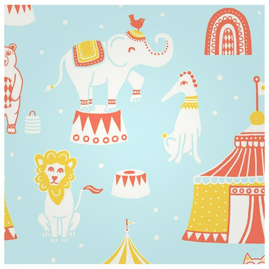 Majvillan Wallpaper Cirkus Blue Multi