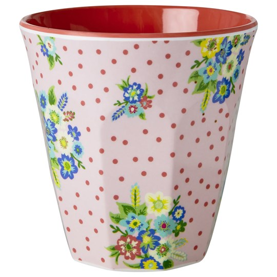 Rice Melamine Medium Cup Vintage Flower Print Pink