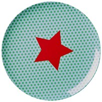 Rice Melamine Lunch Plate Blue Star Print Green