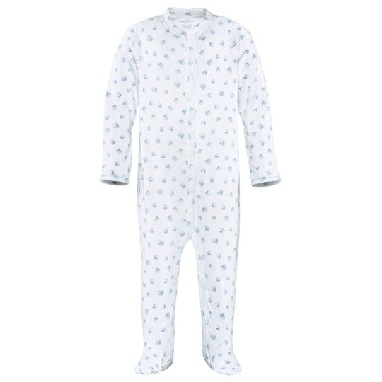 Ralph Lauren Block Footed Baby Body White White Multi W/Pearl Blue