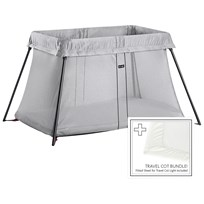 Babybjörn Travel Cot Bundle With Fitted Sheet Silver